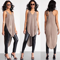 2016 New Summer Style European V Neck Long Side Slit T Shirt Women Tops and Tees Casual Fashion  Women's T-shirt