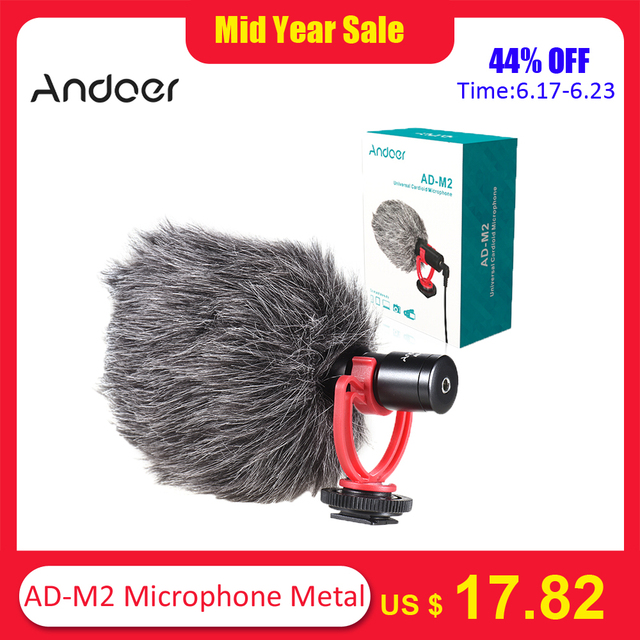Andoer AD-M2 Microphone Metal Video Mic 3.5mm Plug for Huawei Smartphone for Canon Nikon Sony DSLR Camera Consumer Camcorder