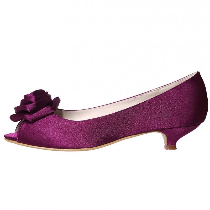Женские туфли лодочки с объемным цветком, атласные дизайнерские туфли с открытым носком на низком каблуке, большие размеры, белые, черные, красные свадебные туфли на каблуке Zapatos - 5