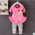2016 new top quality baby girl clothing sets cartoon infant kids cotton casual long-sleeved T-shirt+Pants suit Tracksuit