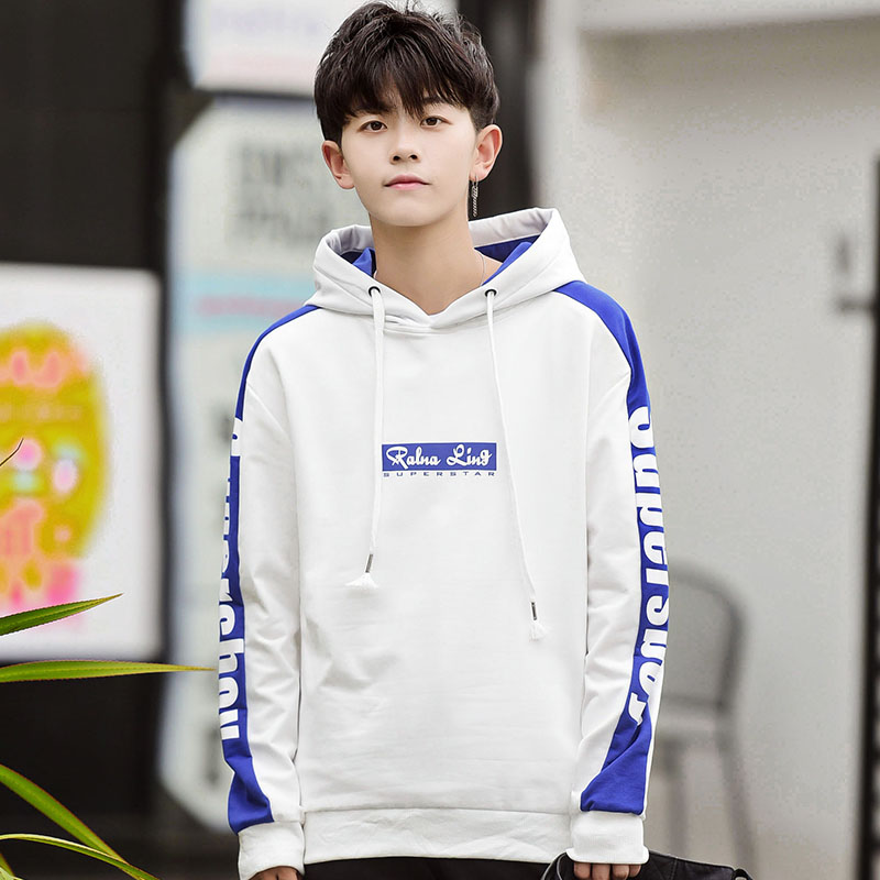Fashion letter print hoodies students hooded casual sweatshirts men color block outerwear 2019 autumn winter