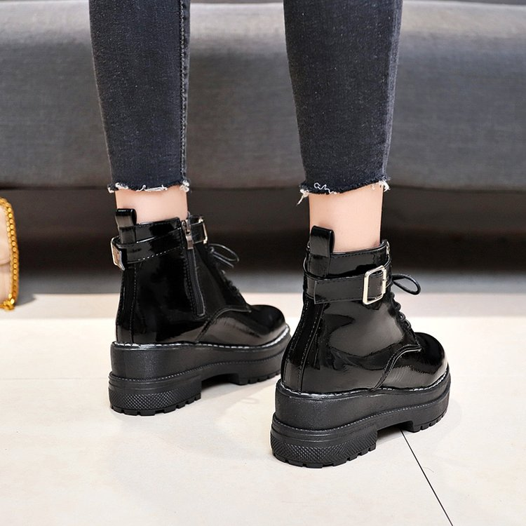 Image 4 - Aleafallling Women Boots Thicken Warm Winter Snow Boots Thicken Non slip Zip Girl's Leather Shoes For College Students AMBT199-in Ankle Boots from Shoes