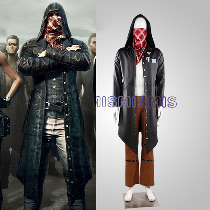 Game PUBG Playerunknown's Battlegrounds Eat chicken Cosplay Costume Halloweeen Carnival Uniforms Trench+Pants+Scarf Custom Made