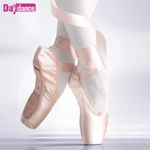 Профессиональный Балетки с острым носком для девочек Для женщин Дамы атласные балетки с лентами