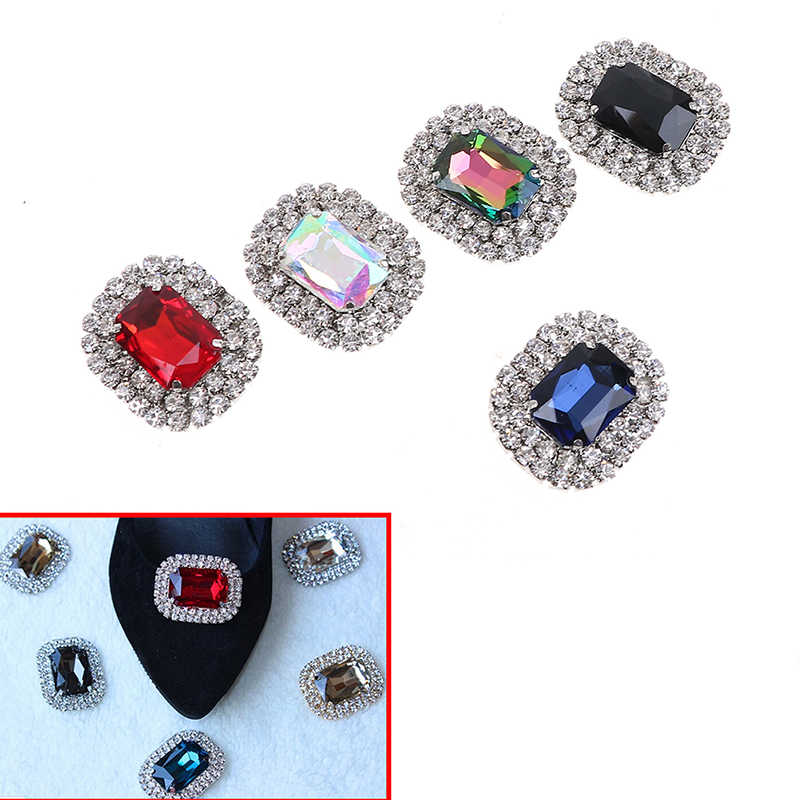New Metal Rhinestone Shoes Buckle Clip Fashion Shining Shoe Clips Decoration High Quality 10 Colors Available