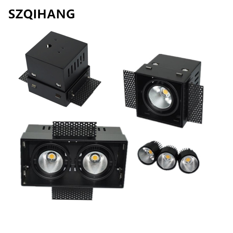 Hot sale Black LED Grid Grille Light  12W/2x12W AR111 High quality LED Downlight Outfit Ceiling Free hole Bezel Light AC85-265VHot sale Black LED Grid Grille Light  12W/2x12W AR111 High quality LED Downlight Outfit Ceiling Free hole Bezel Light AC85-265V