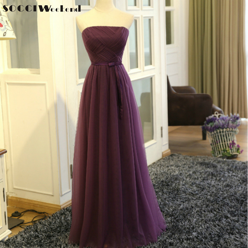Socci Weekend Strapless Purple Long Evening Dress Charming Tulle Burgundy Evening Gown Formal Wedding Reception Vestido De Longo Be Novel In Design Evening Dresses