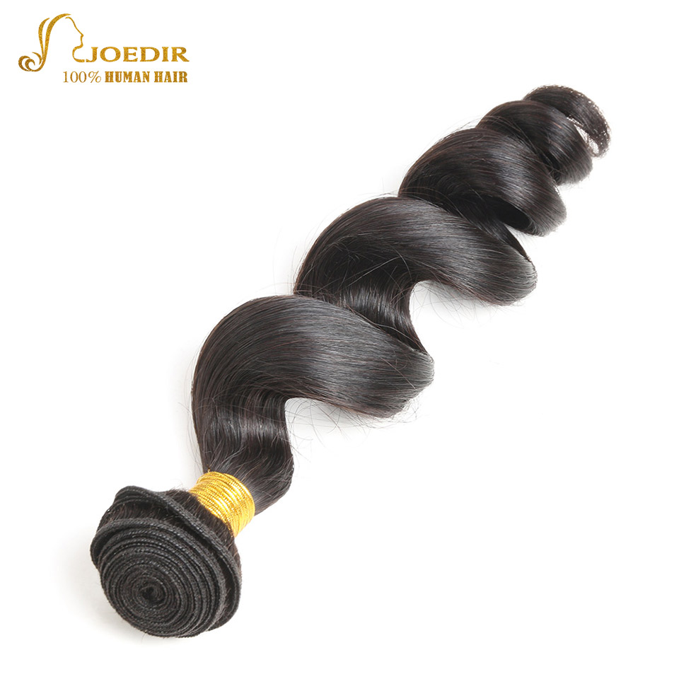 Joedir Hair Peruvian Loose Wave Hair Weave Bundles 1Pc 10-26 Inch 100% Human Hair Can Buy 3 Or 4 Bundles Non Remy Hair Extension
