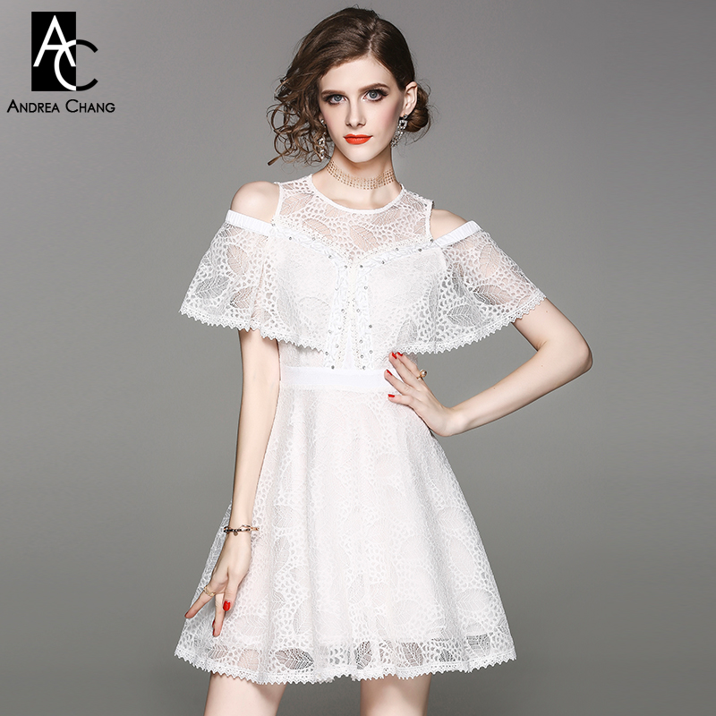 2e2a953a9907 spring summer woman dress hollow out shoulder cloak sleeve pink white lace  dress rhinestone beading chest fashion sweet dress