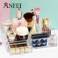 Anfei新しいアクリルダイヤモンドパターン化粧ケース化粧品メイクはドレッサークリーンで引き出しオーガナイザー滑らかなデザインc209