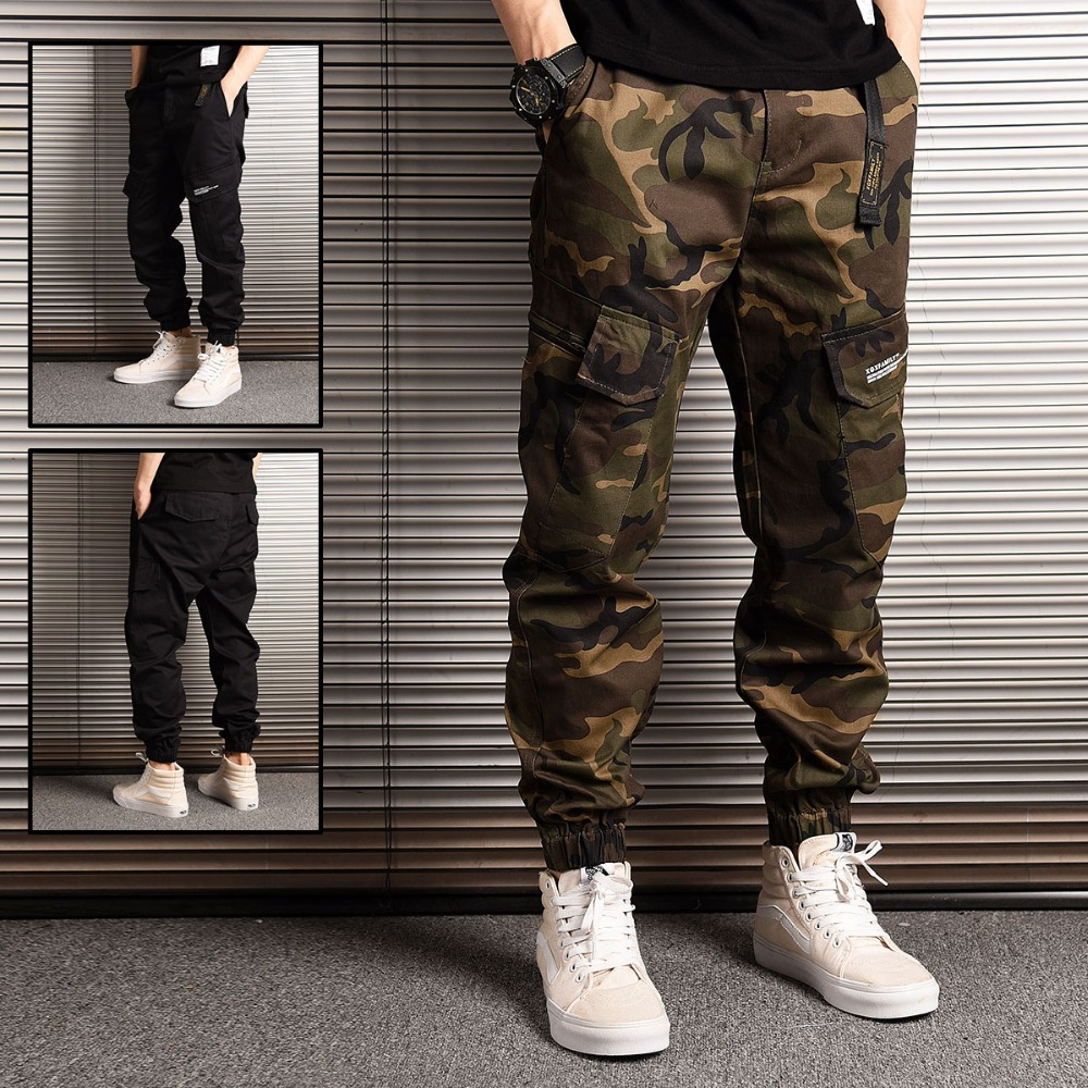Japanese Style Fashion Streetwear Men Jeans Jogger Pants Camouflage Military Pants Loose Big Pocket Cargo Pants Hip Hop Trousers