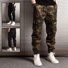 Japanese Style Fashion Streetwear Men Jeans Jogger Pants Camouflage Military Loose Big Pocket Cargo Hip Hop Trousers