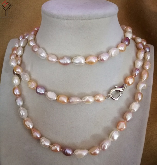 9f54230a09c33 Women Jewelry 9x10mm pearl 120cm 48'' necklace bright white pink purple  baroque pearl handmade real natural freshwater pearl-in Choker Necklaces  from ...