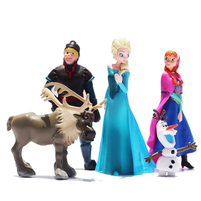 Frozen 5pcs/Lot Disney Elsa Princess Anne Olaf Girl doll toy Preferred Gift Set Dream Closet Olaf Christopher Reindeer Children пазл origami disney disney princess рапунцель со стразами