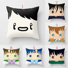 Hot sale beautiful cartoon boys with bowknot patterns women men Pillow case girls weeping pillow cover size 45*45cm