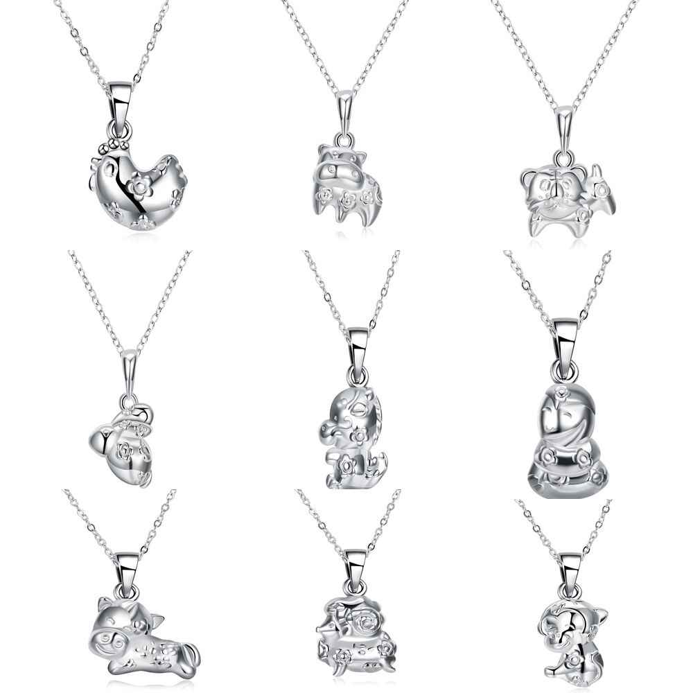 12 animal Zodiacs 3D Stereoscopic pendant Rat/Ox/Tiger/Rabbit/Dragon/Snake/Horse/Goat/Monkey/chicken/Dog/Pig Necklace Jewelry