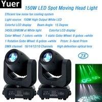 2Pcs/Lot stage light LED Spot Light 150w High Output Moving Head 3 facet Prism Led dj Color DMX512 beam wash led par light disco