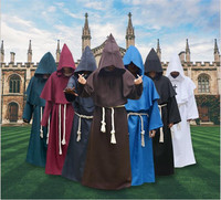 Fashion Men Halloween Costume Mysterious Ancient Medieval Monk Robe Dress Monk Cosplay Suit Witch Costume Priest COS Clothing