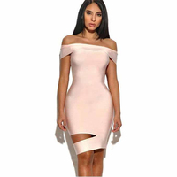 2017 New Ruffles Light Pink Off The Shoulder Strapless Bandage Dress Mid Calf Celenrity Bodycon Noble