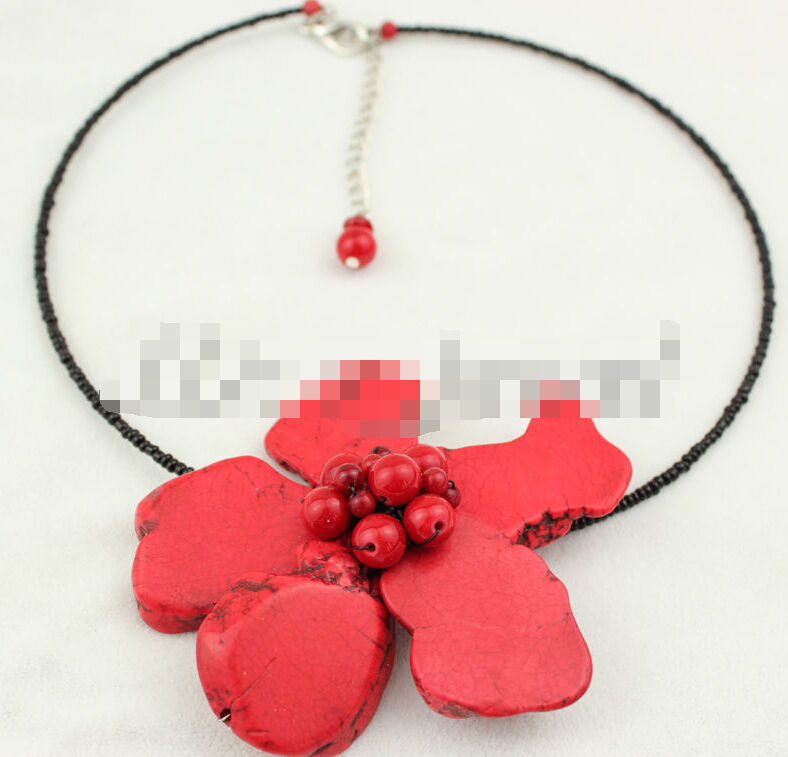 0994 Red Turquoise Coral Flower Necklace image