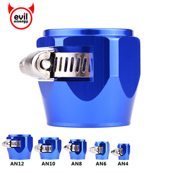 evil energy AN4 6 8 10 12 Oil Fuel Hose Clamp End Finisher HEX Finishers Aluminum Connectors Clamps Blue