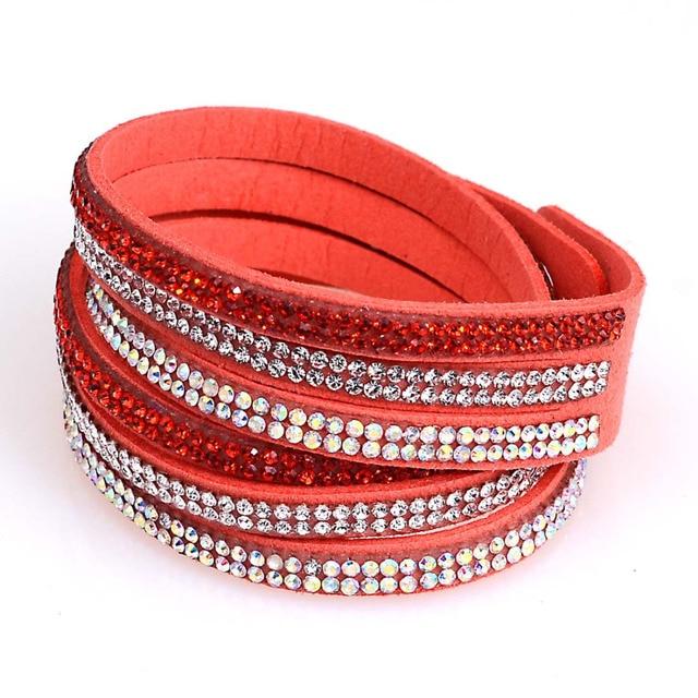 Doppel Wrap Samt Leder 3 Reihen Kristall Armband Mit Voll Pflastern Kristall Gewickelt Armbänder Mit Bilingbling Volle Kristall
