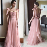Sweet Blush Pink Long Prom Gowns Fairy Girls Tulle Formal Party Dress With Bowknot Spaghetti Straps Plus Size Dresses