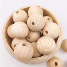 10-150PCS Beech Wooden Chewable 8-20mm Round Beads Ecofriendly Beech Beads DIY Craft Jewelry Accessories Baby Teether(China)
