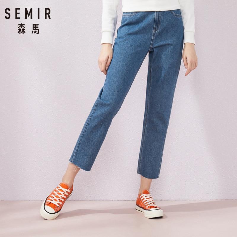 SEMIR Jeans Women2019 Summer New Elastic Waist Trend Raw Straight Pants Ninth Jeans Women Thin Trend