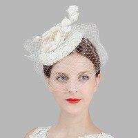 Fashion Banquet Tiara Headdress Bridal Wedding Hair Accessories Head Flower Headdress Linen Gauze Small Hat Hairpin