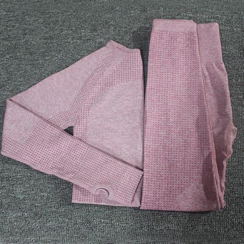 2pcs set Vital Women Sport Suit Yoga Set Gym Workout Clothes Long Sleeve Fitness Crop Top