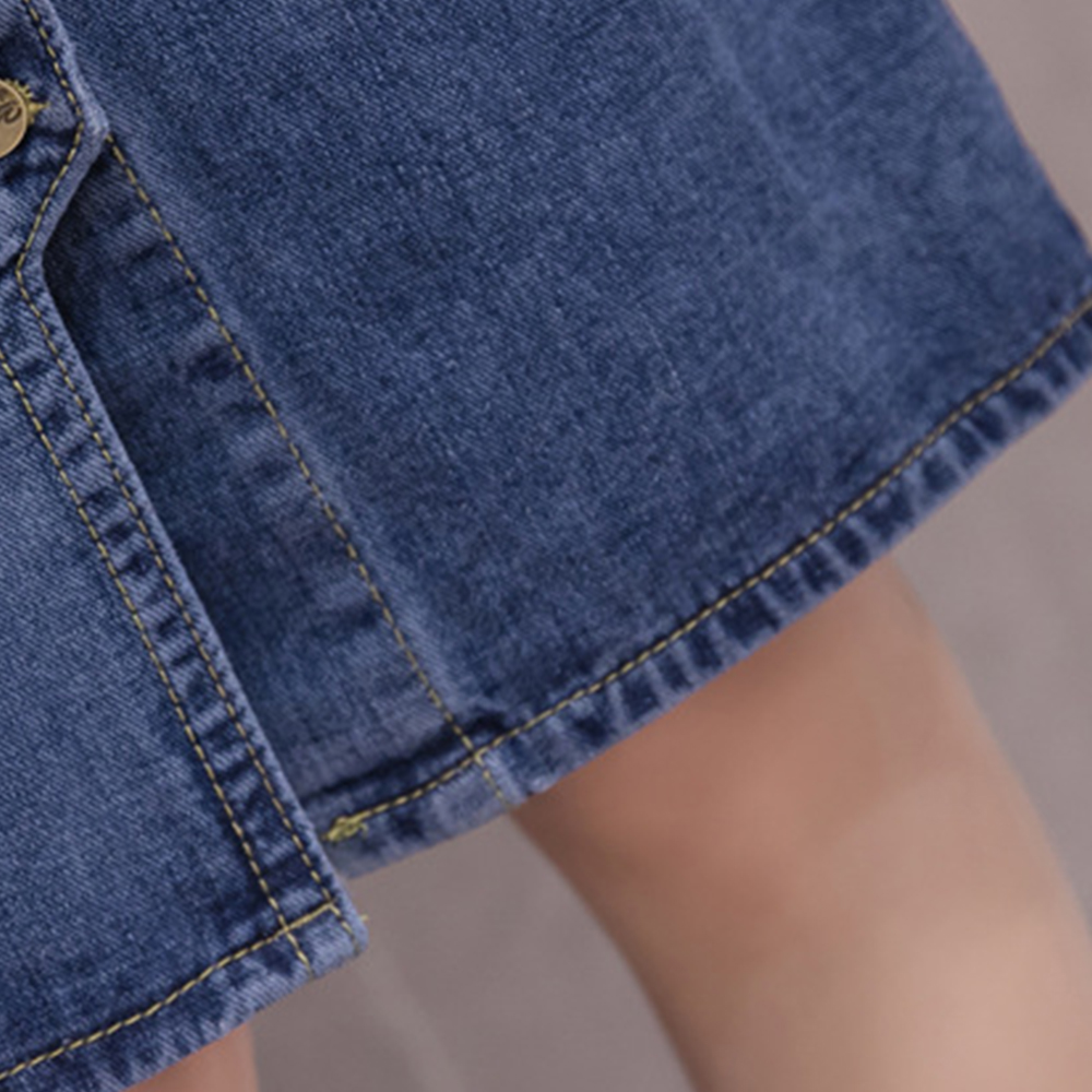 FTGSDLONG S-5XL Denim Skirt Large Size Split 2019 Summer Button High Waist Pocket Skirt Solid Casual A Line Skirt Knee Length