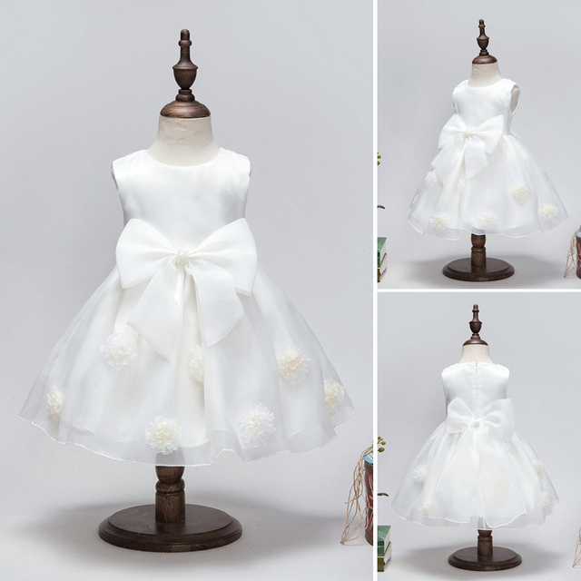 Baby Girl Princess White Dress Baby Girl Ball Gown Party Dress Baby Girl Wedding Dress Birthday Big Bow Decoration