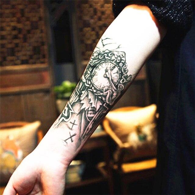 2 Sztuk Tymczasowy Tatuaż Henną Tatuaż Naklejki Zegar Projekt