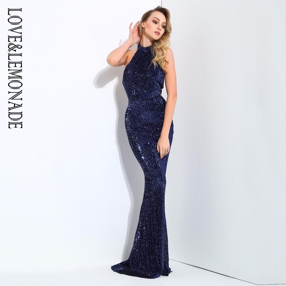 Love&Lemonade  Navy Collar Open Back Fold Elastic Sequins  Dresses LM0810
