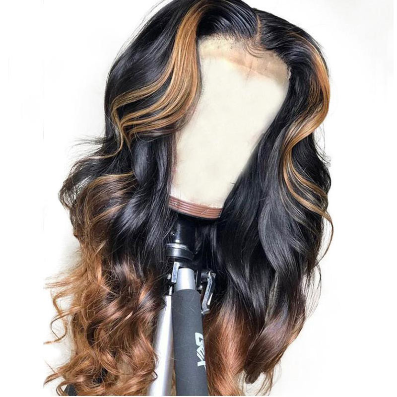 Bouncy Curly 360 Wig PrePlucked Honey Blonde Ombre Colored Lace Frontal Wig Brazilian Lace Front Human