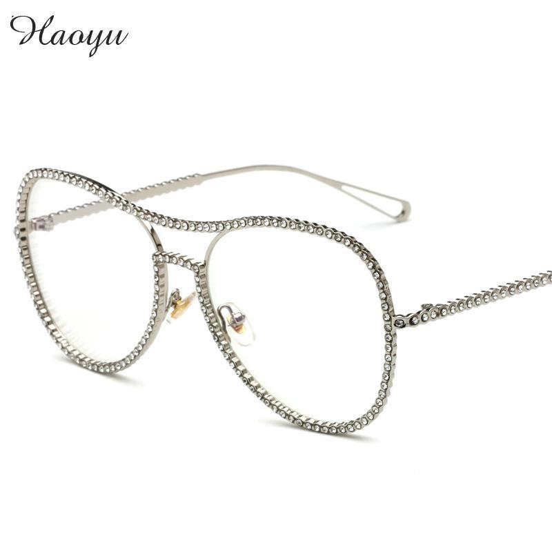 haoyu flat lens full glasses frame mosaic crystal art oculos de grau students myopia reading glasses