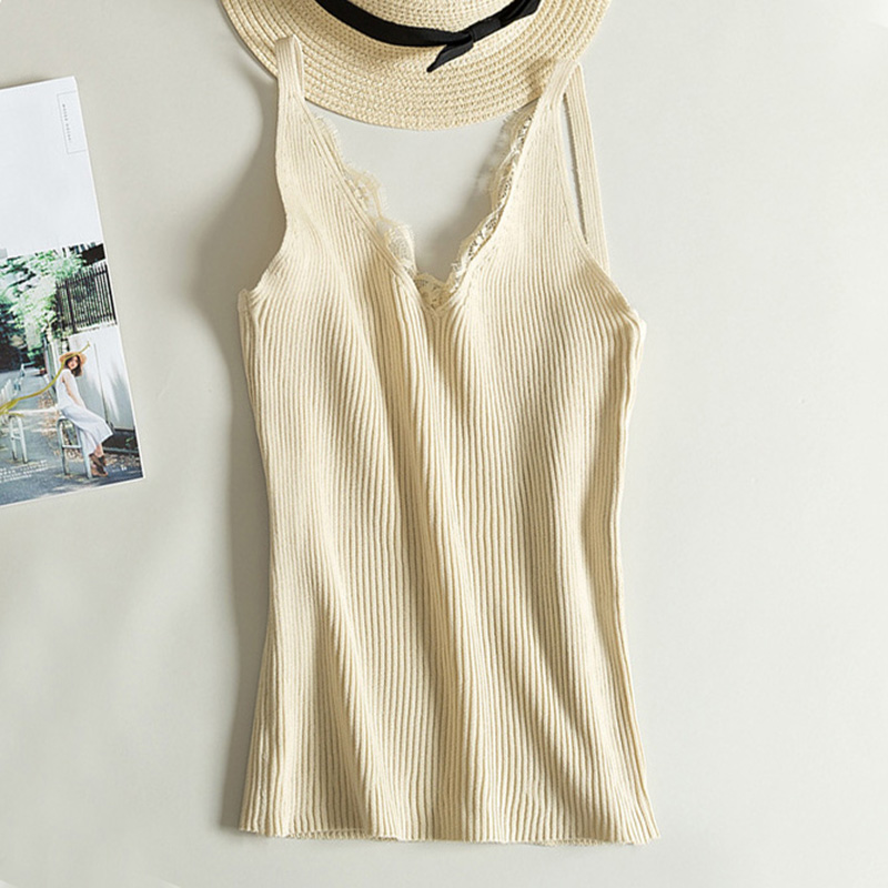 Lace Knitted   Tank     Tops   Female Sexy V-neck Vest Solid Club   Tops   Women Black Beige T shirt Cotton Polyester   Tank     Top
