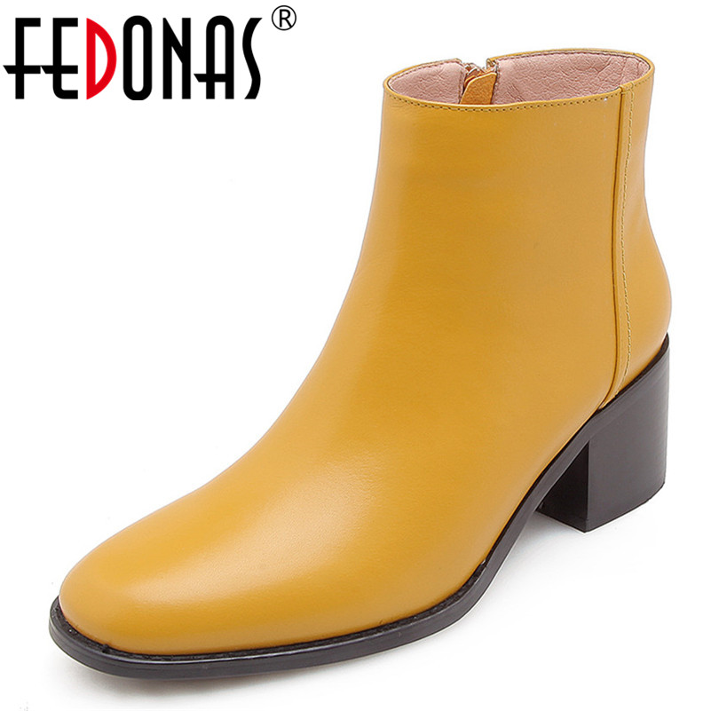 FEDONAS Quality Women Ankle Boots High Heels Soft Leather Martin Shoes Woman Round Toe Short Motorcycle Boots Ladies Ankle Boots стоимость