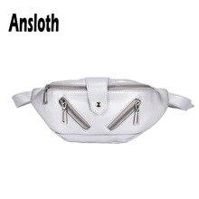 Ansloth Casual Waist Bag For Women PU Leather Fanny Pack Zipper Belt Bag Lady Solid Color Banana Bag Female Waist Pack HPS570