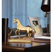 Modern Creative Brass Horse Office Bookcase Decor Lucky Housewarming Gift TV Cabinet Wine Cabinet Home Decor M1312