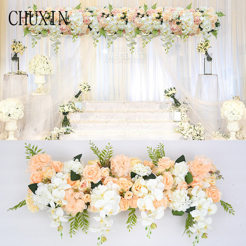 Artificial Flower Wedding Rose Phalaenopsis Flower row Arch door T station Road Leading Flower Wall Decoration Wedding Props 1pc-in Artificial & Dried Flowers from Home & Garden    1