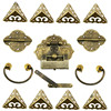 15Pcs Brass Hardware Set Antique Wooden Box Latch Hasp Pull Handle Hinges Corner Protector Old Lock