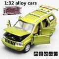 1:32 aleación de coches, jeep grand cherokee modelo de simulación de alta, de metal a troquel, automóviles de juguete, tire hacia atrás y intermitente y musicales, envío libre