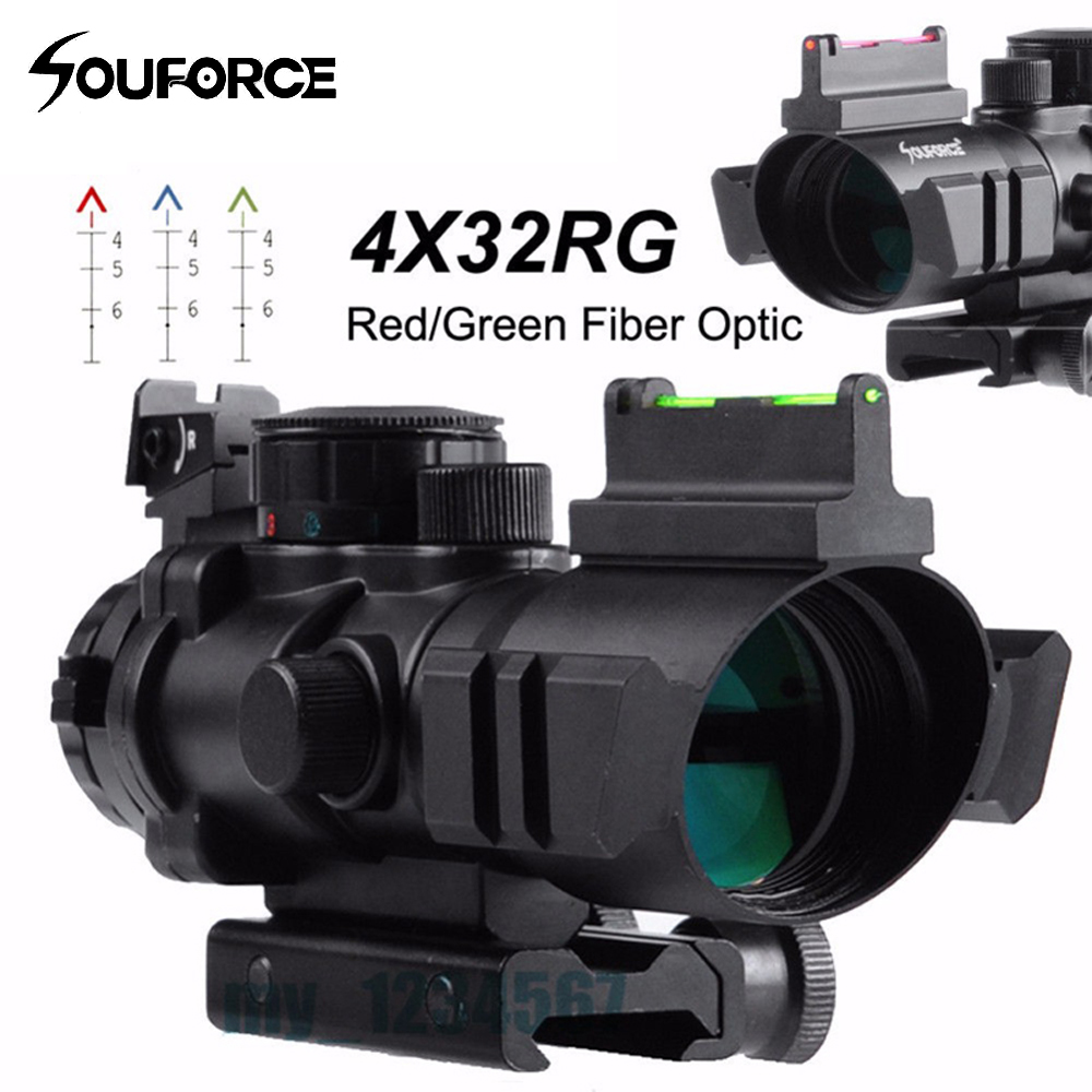 2 Style 4x32 RGB Reticle Tri Illuminated Compact Scope Red Green Fiber Optical Sight Etched Glass