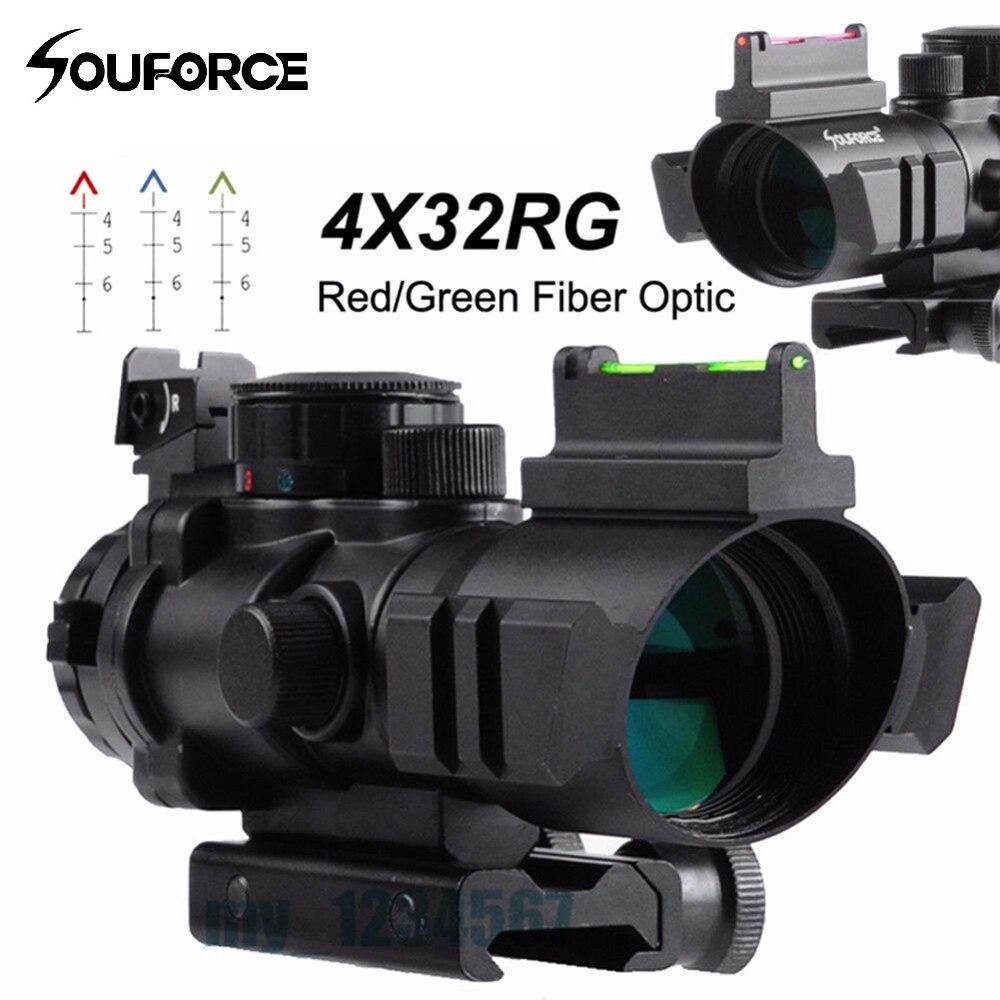 2 Style 4x32 RVB Réticule Tri-Éclairé Compact Portée Rouge/Vert Fiber Optique Sight Verre Gravé tactique de Tir