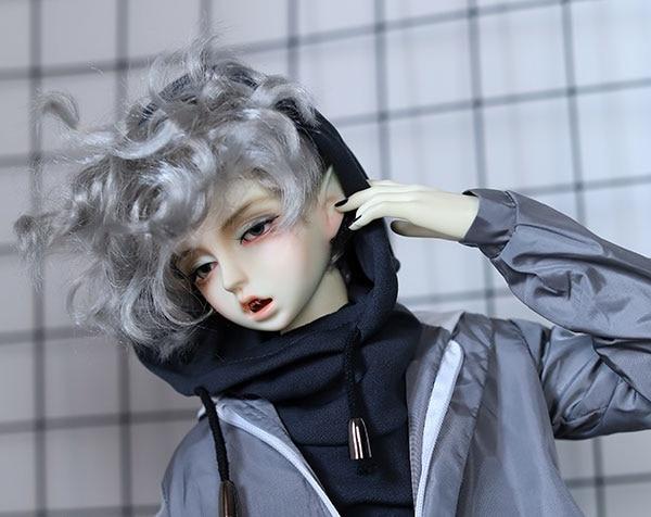 D01-P489 enfants jouet fait main 1/3 oncle poupée accessoires BJD/SD poupée perruque argent gris nichoir cheveux 1 pièces