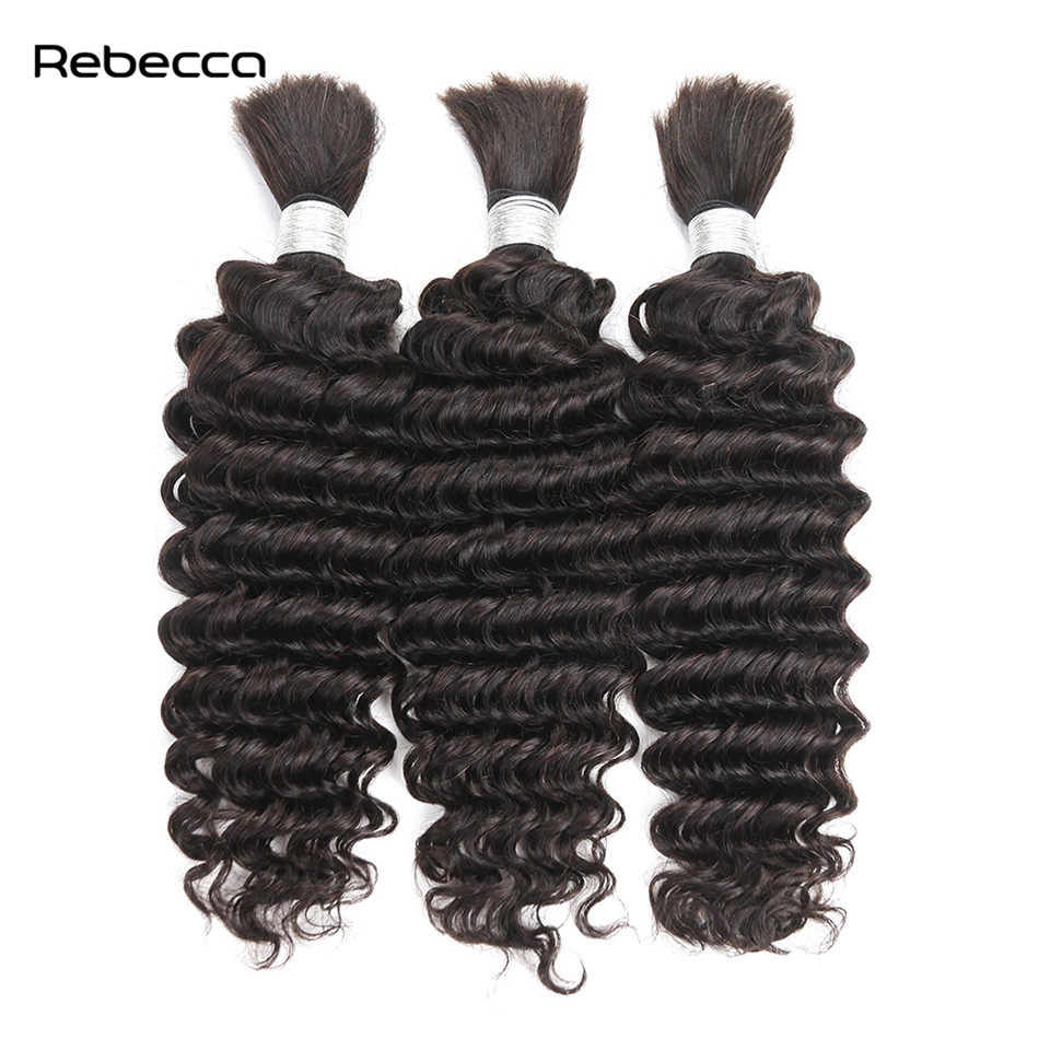 Rebecca Hair Products Peruvian Remy Bulk Hair Deep Wave 100 Real Human Hair Bundle 10 30inch