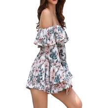 2019 romper women Boho Off Shoulder Jumpsuit Beach Vacation Short Sleeve Sexy Summer Playsuit