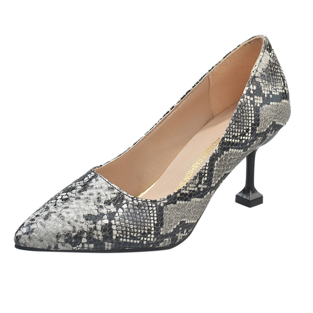 Sexy Women Pumps Snake print Pattern Extreme high heels Shoes Pointy Toe Fashion Party Dress Shoes Woman zapatos mujer 2019 slip-on shoe
